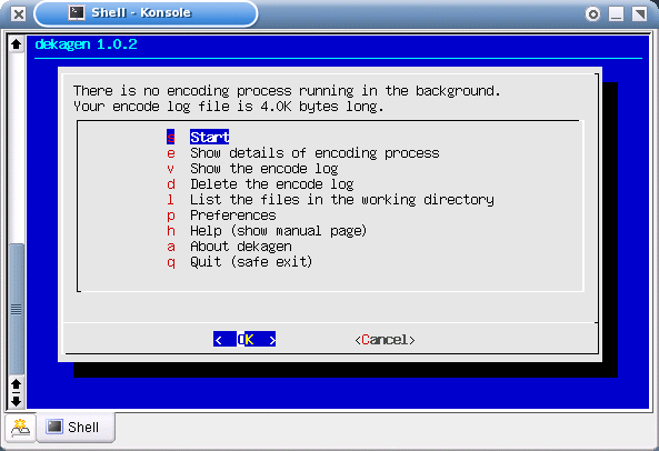 main menu of the dekagen user interface